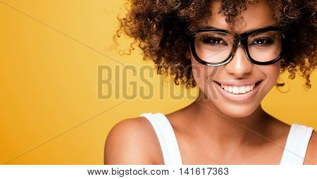 Laughing African American Girl With Afro.