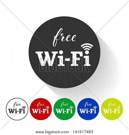 Free wifi round sticker. Vector wireless wlan icon with signal element. Free wifi hotspot tag in black, white, green, red, blue, yellow colors  with shadow.