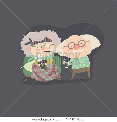 Grandfather giving his care to sick grandmother. vector illustration
