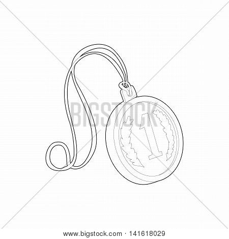 Medal for first place icon in outline style isolated on white background. Rewarding symbol