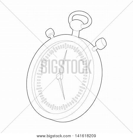 Stopwatch icon in outline style isolated on white background. Time symbol
