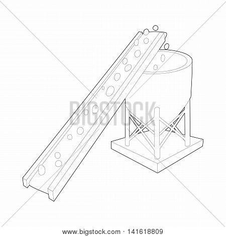 Conveyor for loading of chemical raw materials icon in outline style isolated on white background. Chemistry symbol