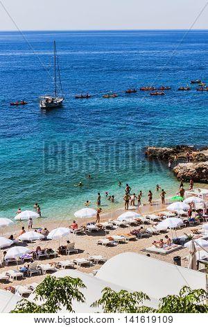 People On The Beach In Dubrovnik, Croatia
