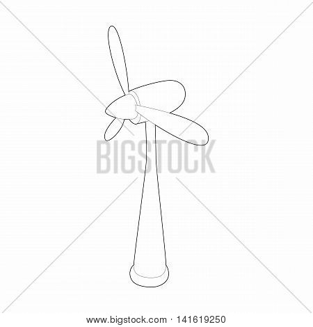 Wind turbine icon in outline style isolated on white background. Energy symbol