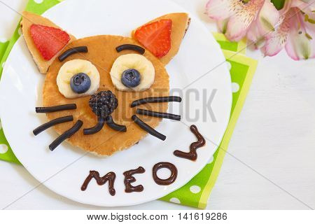 Pancake with fruits and berries - cat say meow