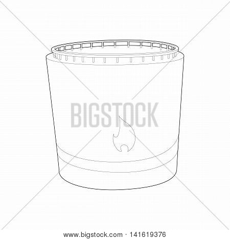Cylindrical tank flammable icon in outline style isolated on white background. Chemistry symbol
