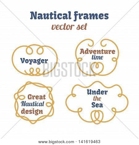 Nautical frames set. Ropes swirls. Decorative vector knots. Ornamental decor elements with rope. Isolated design. Frame for your text