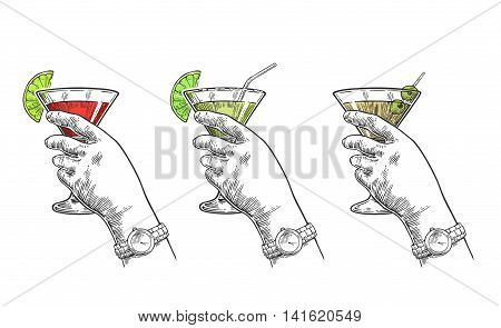 Female hand holding a glasses of cocktails. Vintage vector engraving illustration.