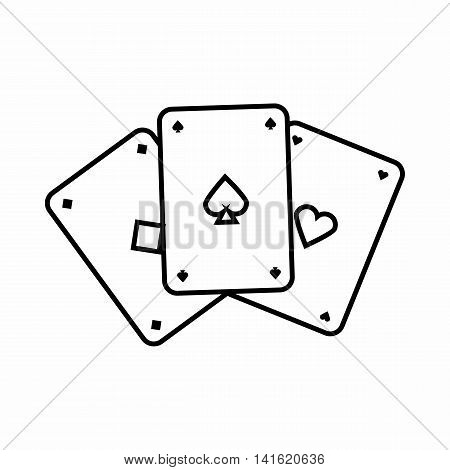Playing cards icon in outline style isolated on white background. Game symbol