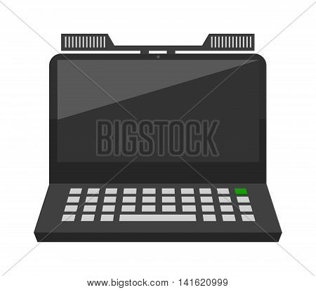 Modern laptop computer isolated on white background vector. Laptop keyboard isolated on white background technology communication vector. Flat laptop front view. Laptop technology front view vector