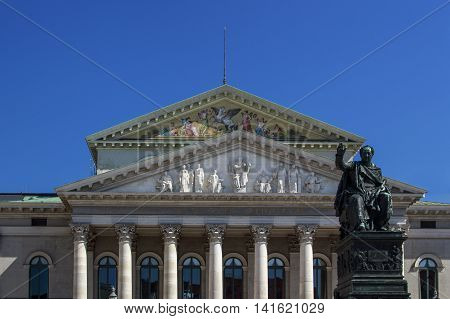 MUNICH, GERMANY - AUGUST 29, 2015: New Residence Theatre of the Residence in Munich located in the inner city close to Odeonsplatz and houses the Bavarian State Theatre it is one of the most important German languages theatres in the world