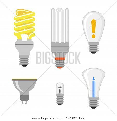 Cartoon lamps electric and bright cartoon interior light tool flat vector. Cartoon different lamps light bulb electricity design flat vector illustration. Vector light bulbs lamp creative idea concept