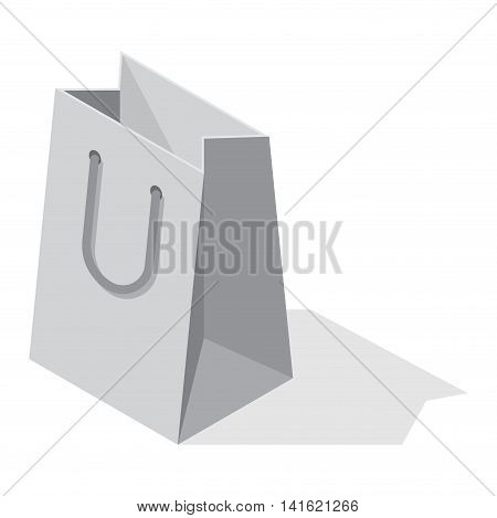 Paper shopping bags isolated on white background, Shopping bag pack fashion store empty market and shopping commerce package box present packet. Isolated box isometric view