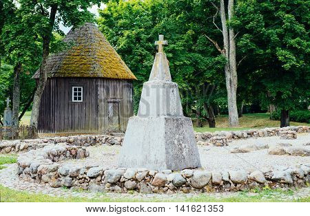 Stone monument in Lithuanian national park Kernave
