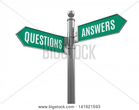 Questions and Answers road signs isolated on white. 3d illustration