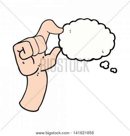 freehand drawn thought bubble cartoon hand making smallness gesture