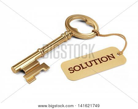 Golden key and solution tag. 3d illustration