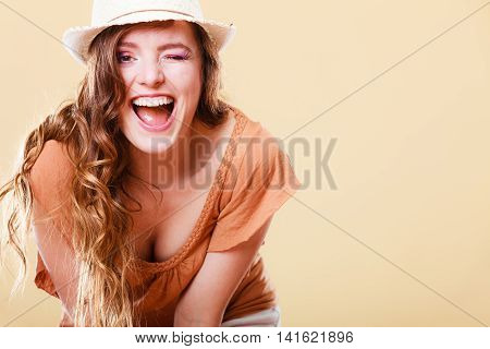 Charming Woman In Summer Clothes Straw Hat