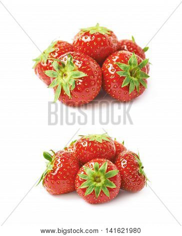 Pile of few ripe red strawberries isolated over the white background, set of two different foreshortenings
