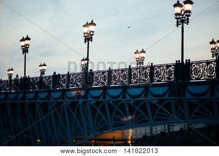 Patriarchal bridge in Moscow. Street lamps on the bridge