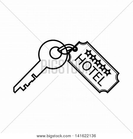 Room key at hotel icon in outline style isolated on white background. Open symbol