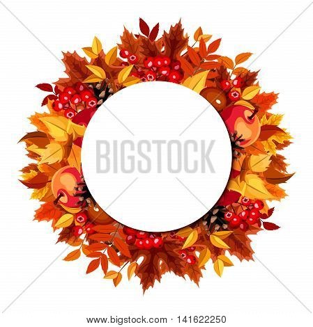 Vector circle background with red, orange, yellow and brown autumn leaves, apples, cones, rowanberries and chestnuts.