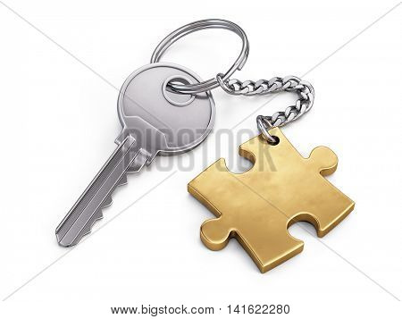 Golden key and puzzle. 3d illustration
