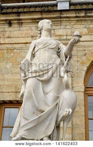Statue Vigilance near Big Gatchina Palace in Gatchina Russia.