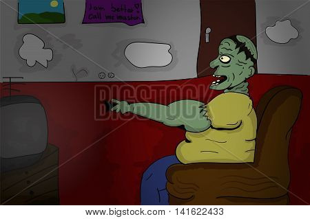 Illustration of crazy old man who looks like a zombie in cartoon style. Old walking dead angry senior sitting on a chair with tv remote in hand watching television. Cartoon style illustration.