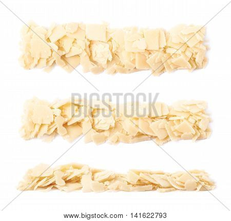 Line of parmesan cheese flakes isolated over the white background, set of three different foreshortenings