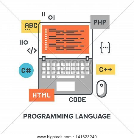 Vector illustration of programming language flat line design concept.