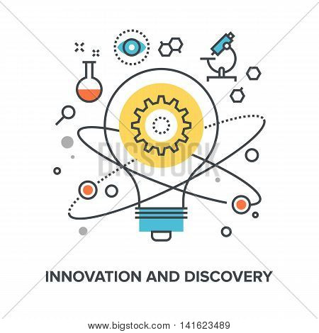 Vector illustration of innovation and discovery flat line design concept.