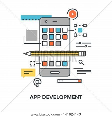Vector illustration of app development flat line design concept.