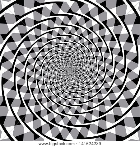 Fraser spiral optical illusion. Overlapping arc segments appear to form a spiral, but the arcs are a series of concentric circles.