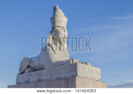Travel in Sank Peterburge to a statue of a sphinx in summer day
