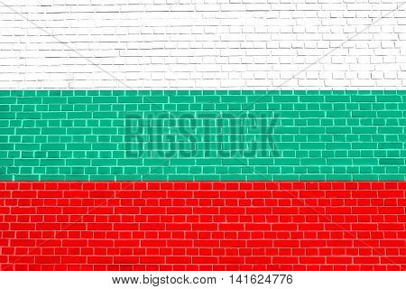 Flag of Bulgaria on brick wall texture background. Bulgarian national flag.