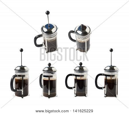 Glass french press pot filled with coffee, composition isolated over the white background, set of six different foreshortenings