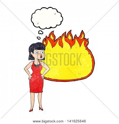 freehand drawn thought bubble textured cartoon woman in dress with hands on hips and flame banner