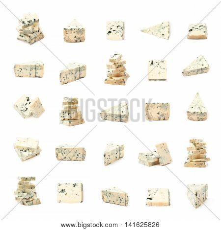 Set of multiple blue roquefort cheese compositions isolated over the white background