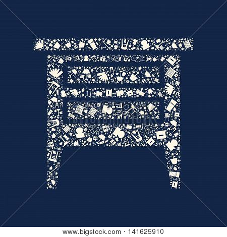 Flat home appliance furniture icon template banner layout design background in a sofa shape hightstand chairs boxes for website or brochure with sample text create by vector