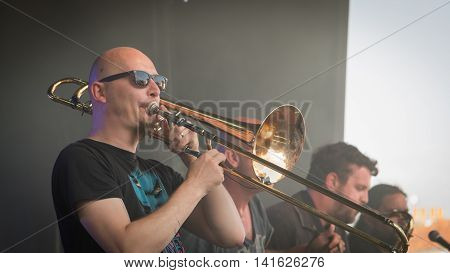 Trombone Player For A Rock Concert