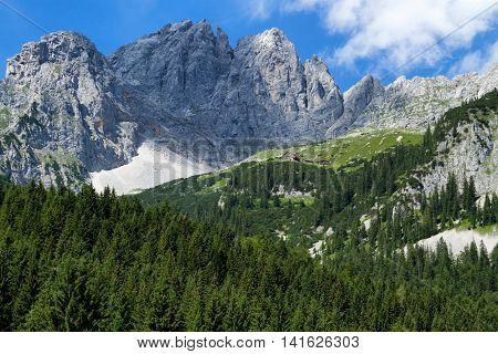 View of Wilder Kaiser Mountains. Austria Tyrol Gruttenhuette.
