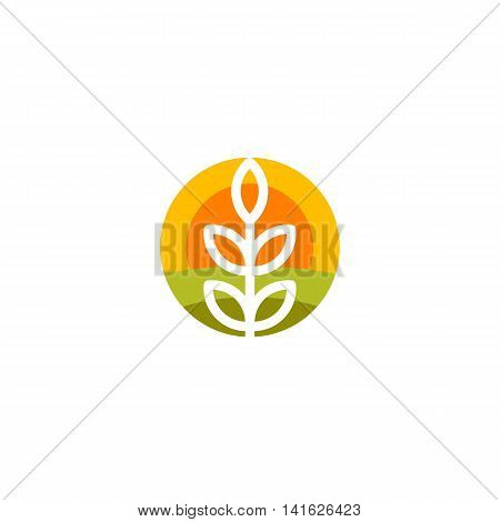 Isolated round shape abstract agricultural vector logo. Wheat ear silhouette logotype. Farm icon. Harvesting illustration. Bakery emblem