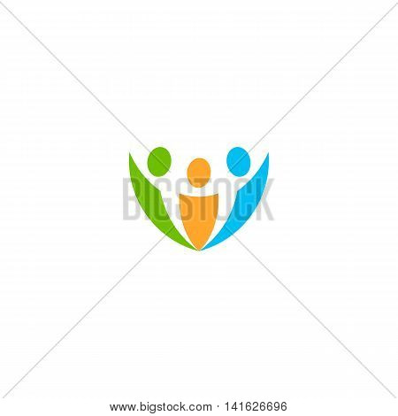 Isolated abstract colorful people vector logo. Human silhouette logotype. Minimalistic illustration. Community sign. Teamwork activity icon. Unity symbol. Social network element