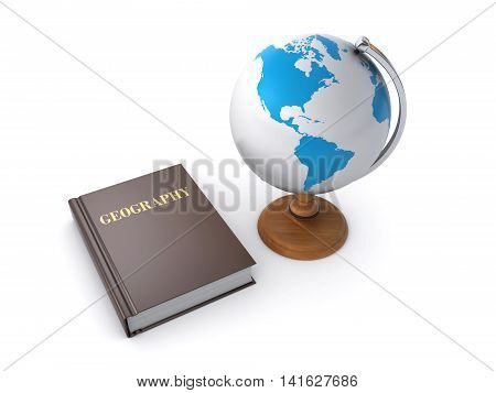 3d render of a geography book and desktop globe