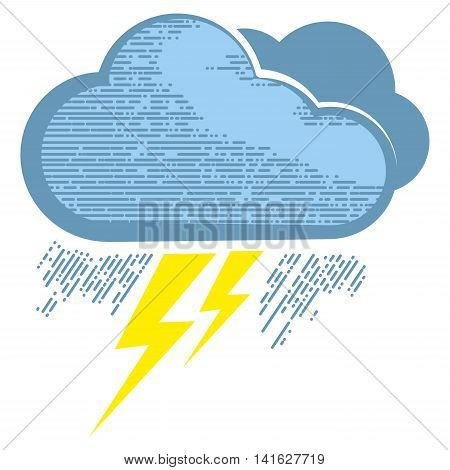 Cloud with lightning bolts in engraving style. Lightning bolts icons for computing web and app.