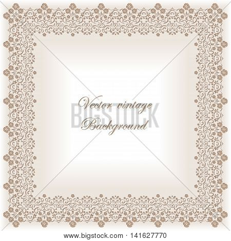 Abstract square lace frame with paper swirls, vector ornamental background