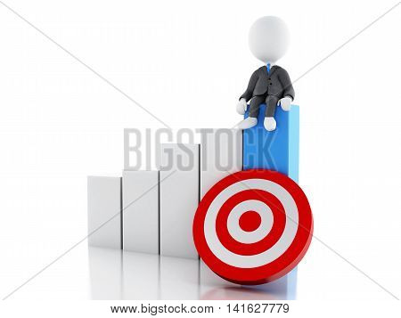 3d renderer image. White business person with statistic graph and red target. Success concept. Isolated white background