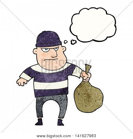 freehand drawn thought bubble textured cartoon burglar with loot bag