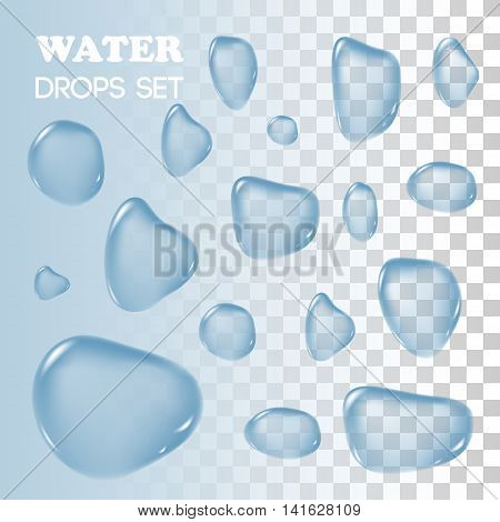 Water drops. Vector objects. Rain drops on background. Transparent drops of water flowed over the surface.